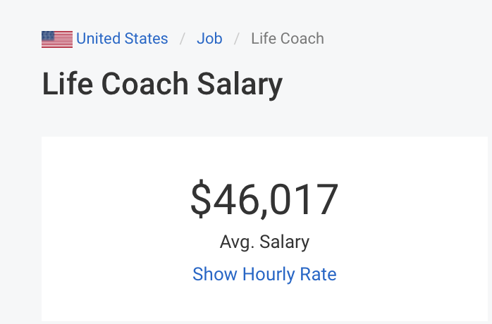 life coach average salaray in the United States