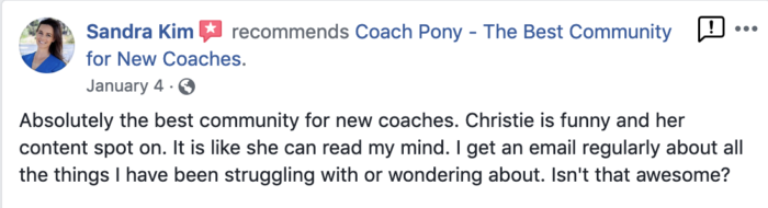 testimonial: Sandra recommends Coach Pony as the best community for new life coaches